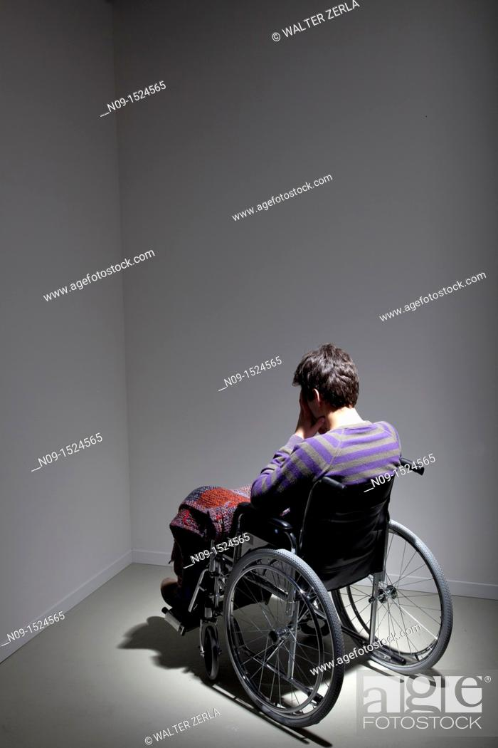 Stock Photo: Man in wheelchair.