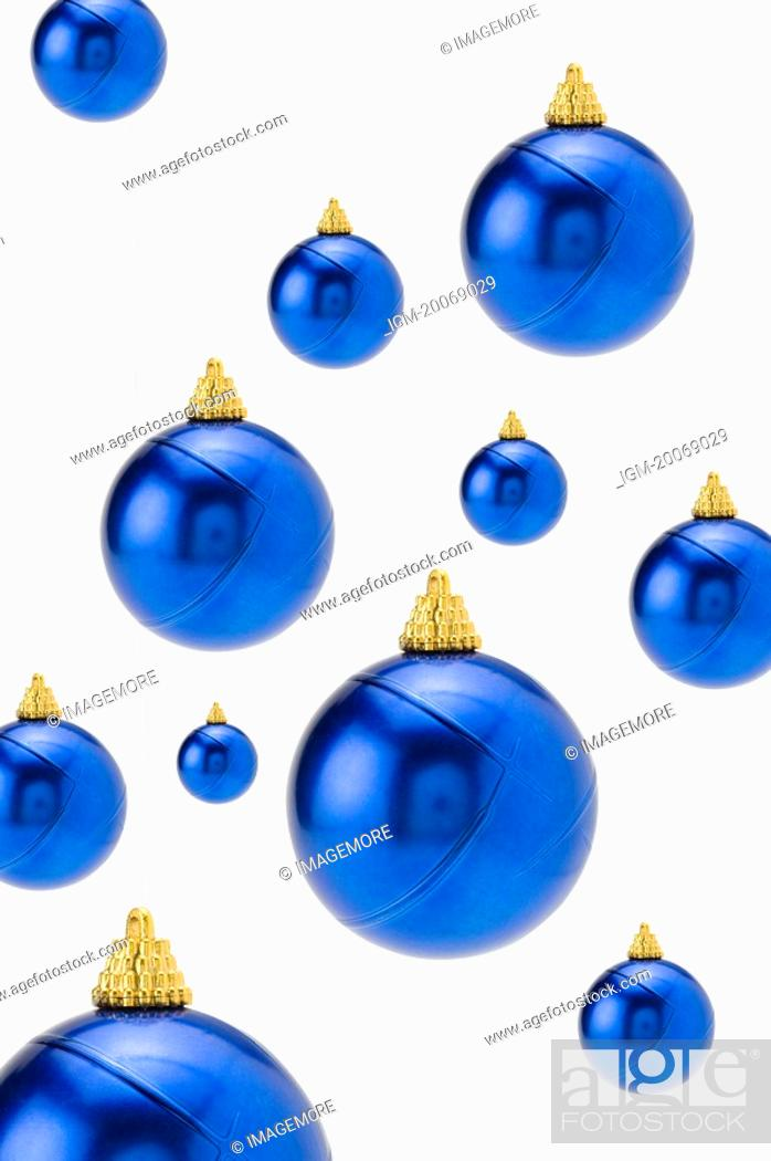 Stock Photo: Blue Christmas baubles.