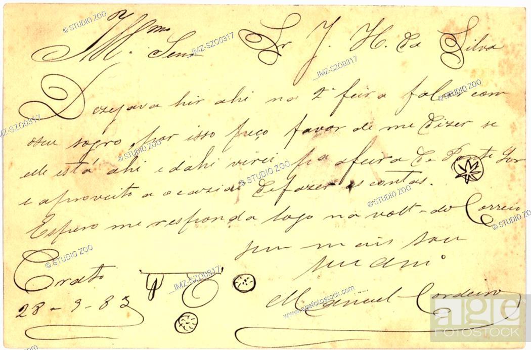 Stock Photo: Vintage postcard with script writing, flourishes.