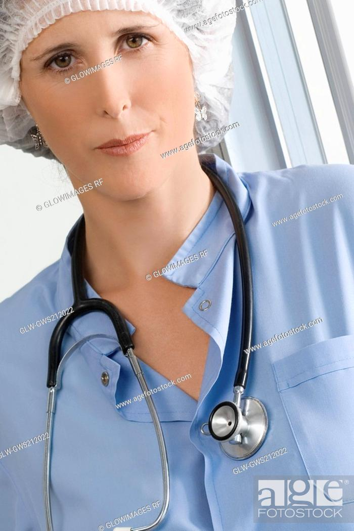 Stock Photo: Portrait of a female surgeon.