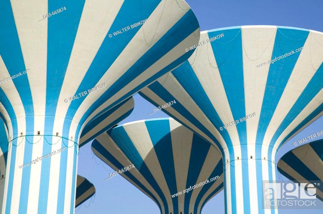 Stock Photo: KUWAIT-Sideeq (suburb of Kuwait City): Kuwaiti Water Towers.