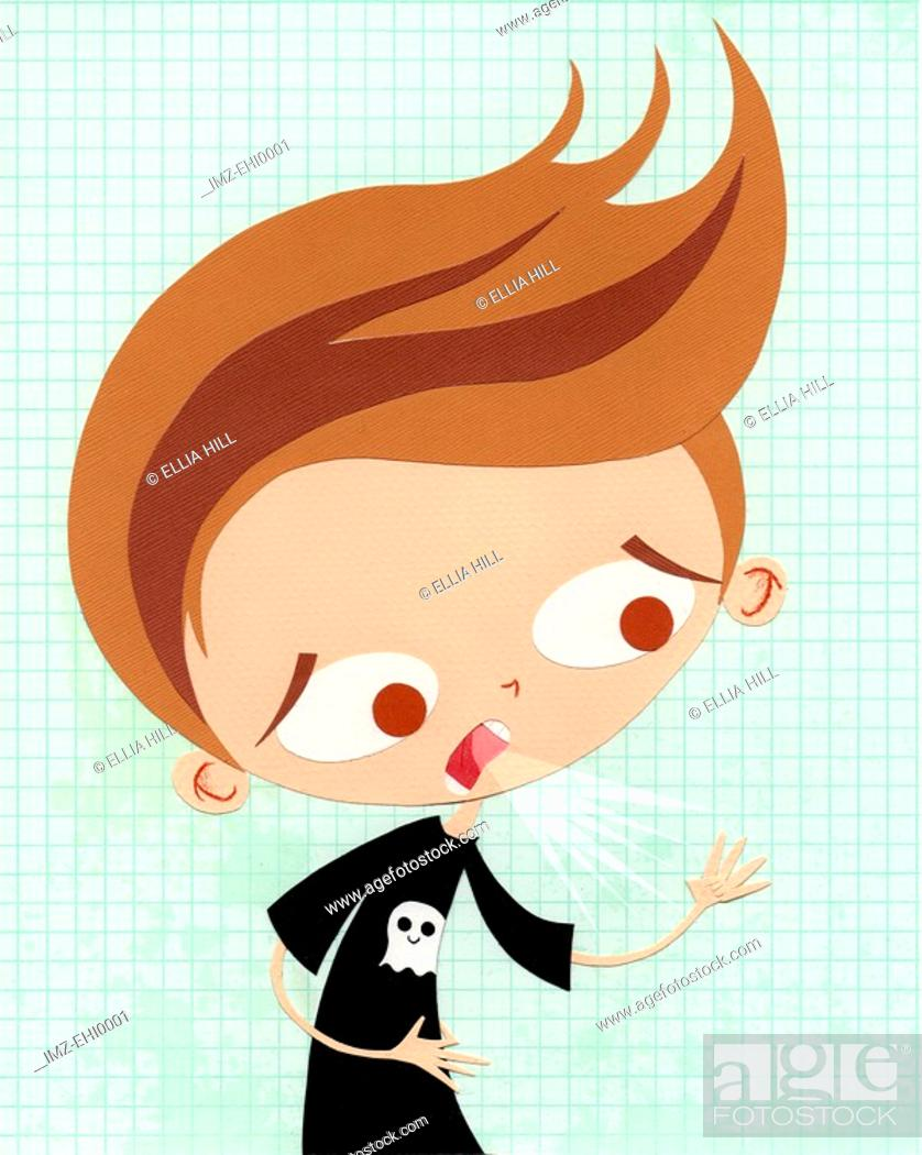 Stock Photo: A paper cut illustration of a young boy coughing.
