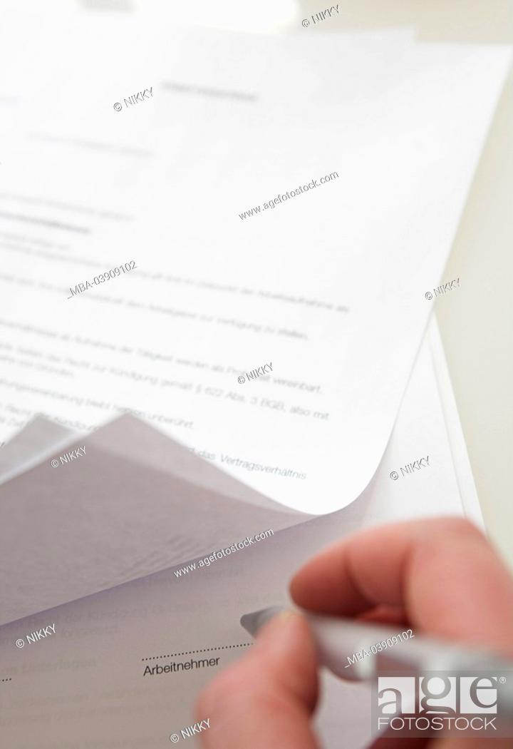 Man Hand Document Employment Contract Pen Signature Detail