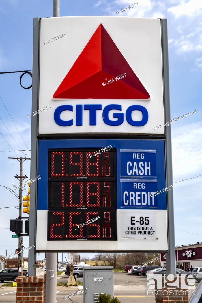 Stock Photo: Detroit, Michigan - With gasoline under $1. 00 a gallon due to the coronavirus pandemic, E85 cannot compete at this Citgo station.