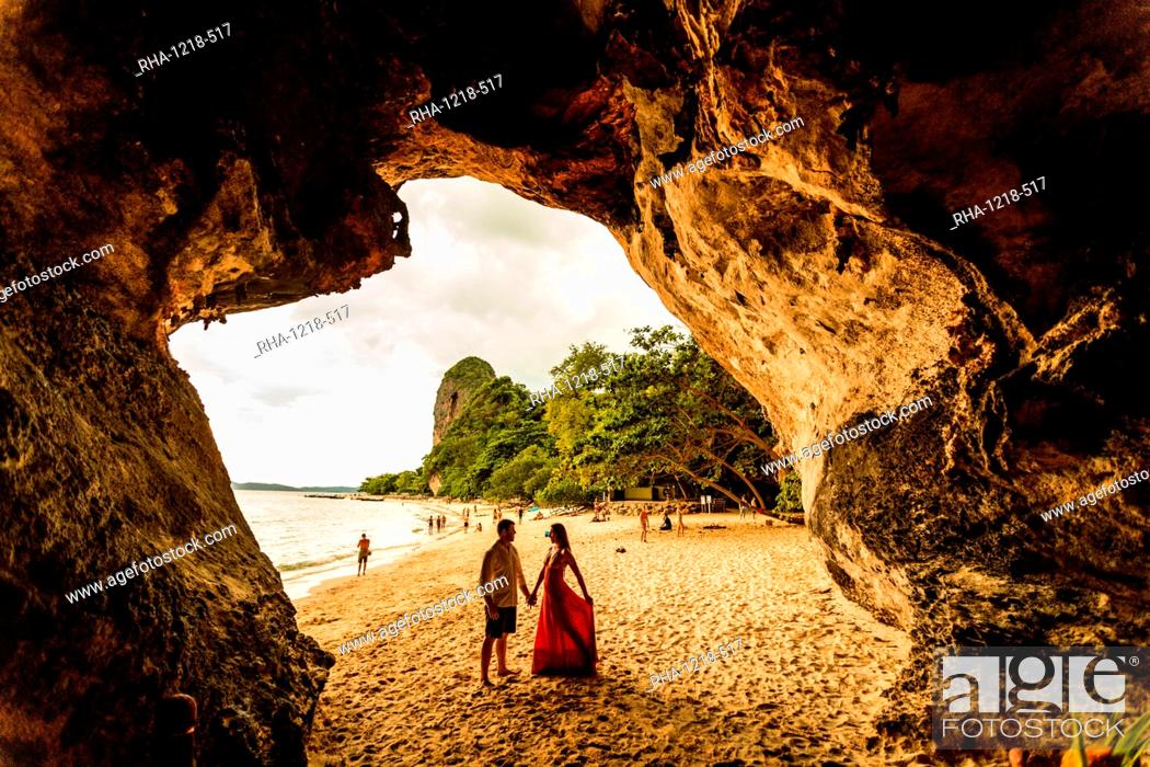 Stock Photo: Sunset on Railay Beach in Krabi, Thailand, Southeast Asia, Asia.