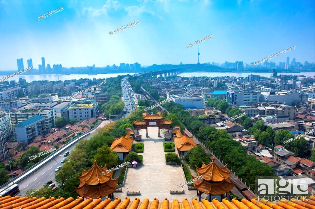 Stock Photo: China, Hubei Province, Wuhan, Wuchang, Yellow Crane Tower, Aerial View.
