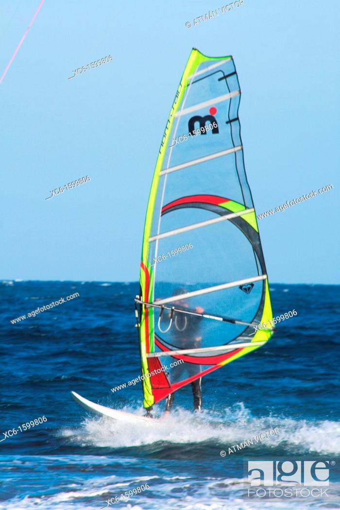Stock Photo: Windsurfing on the beach of El Medano, Tenerife, Canary Islands, Spain.