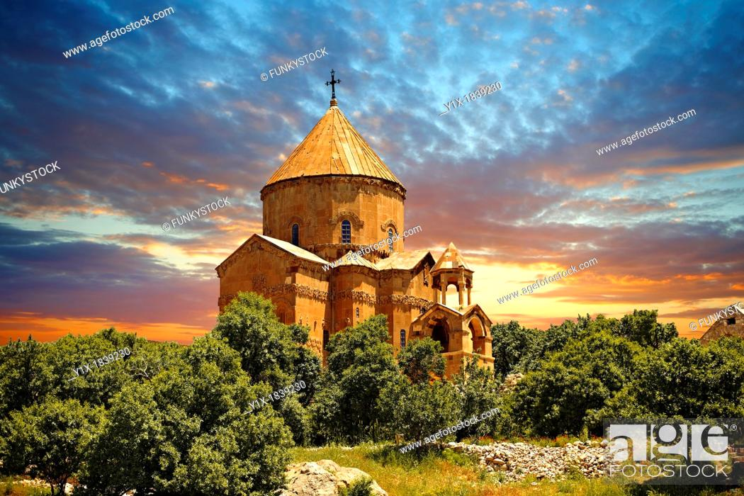 Stock Photo: 10th century Armenian Orthodox Cathedral of the Holy Cross on Akdamar Island, Lake Van Turkey 49.