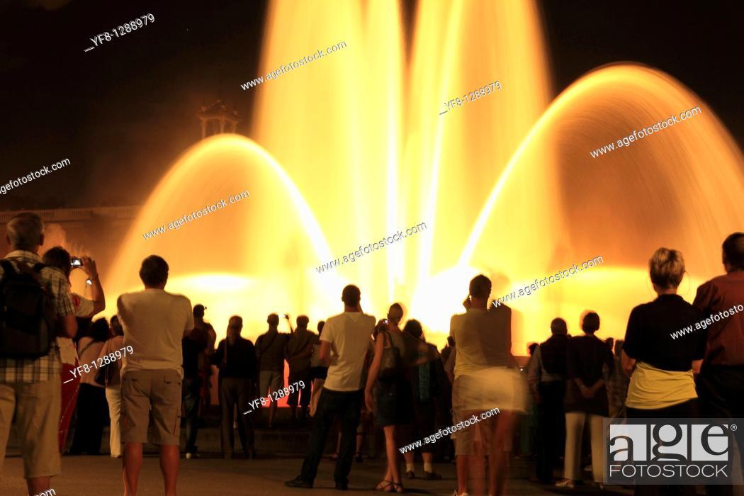Stock Photo: Magic fountains Barcelona Montjuic mountain Catalonia Spain Europe.