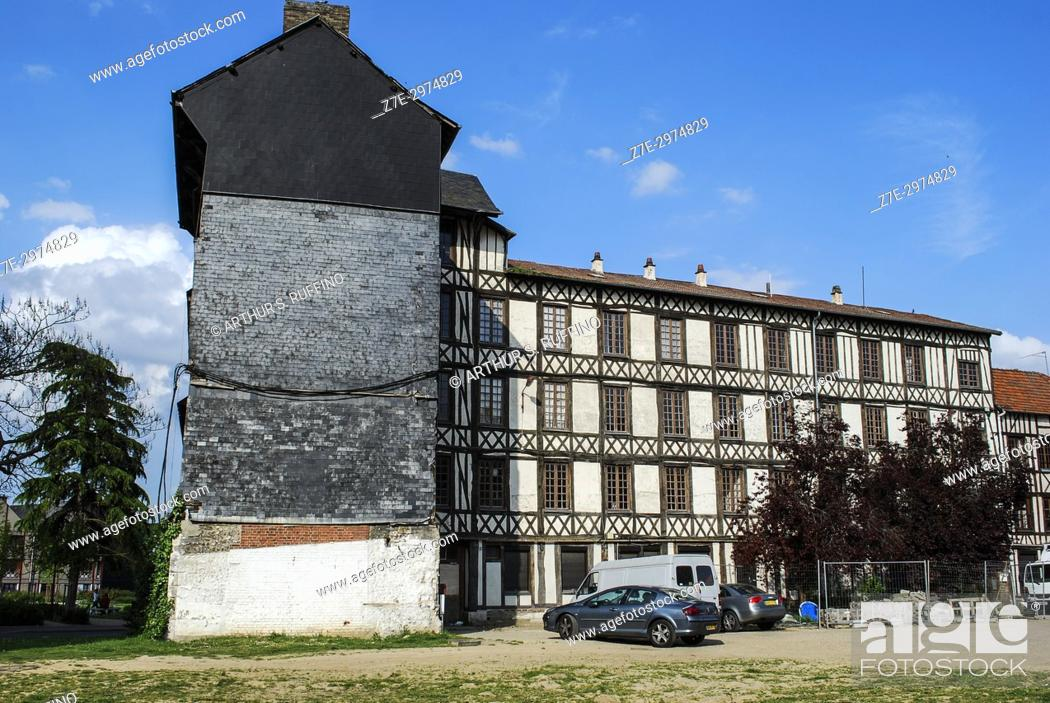 Stock Photo: Architecture of Elbeuf. Elbeuf (Elbeuf-sur-Seine), town on the banks of the Seine River, Seine-Maritime Department, Normandy, France, Europe.