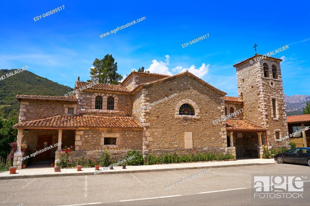Stock Photo: Tama church in Cantabria near Potes in Spain.