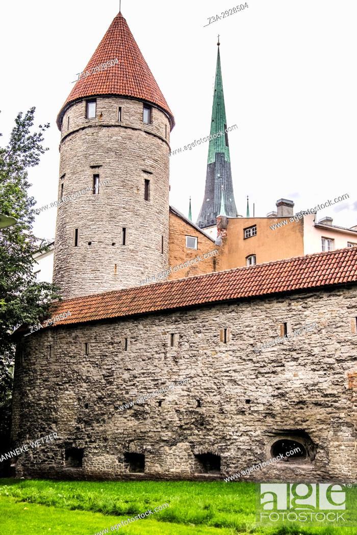 Stock Photo: Medieval guardian tower in Tallinn, Estonia, Europe.