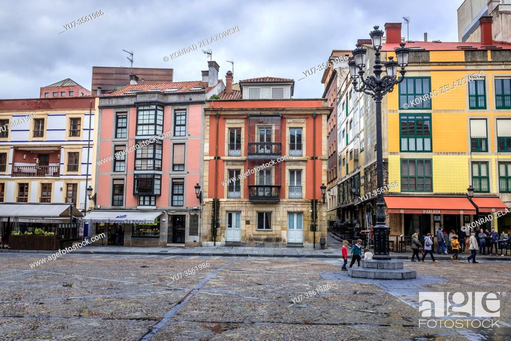 Stock Photo: Houses on Plaza Mayor - Main Square in Gijon in the autonomous community of Asturias in Spain.