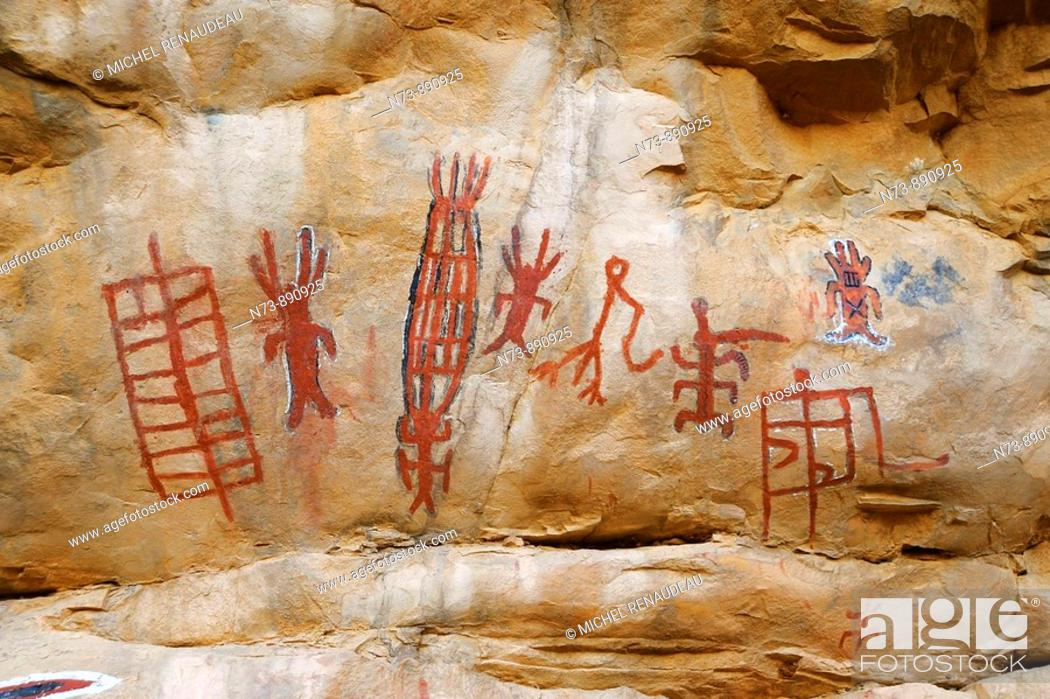 Stock Photo: Circumcision cave painting, Songo, Dogon Country, Mali.