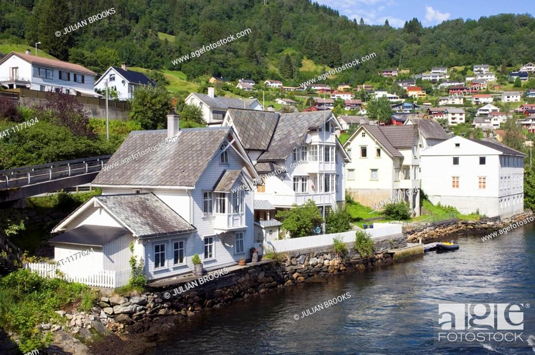 Stock Photo: sea front houses at Norheimsund, Western Norway.