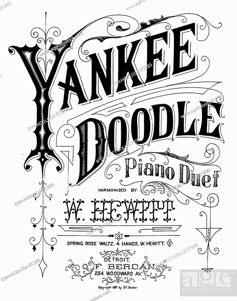 Yankee Doodle, patriotic American song, piano duet harmonized by W
