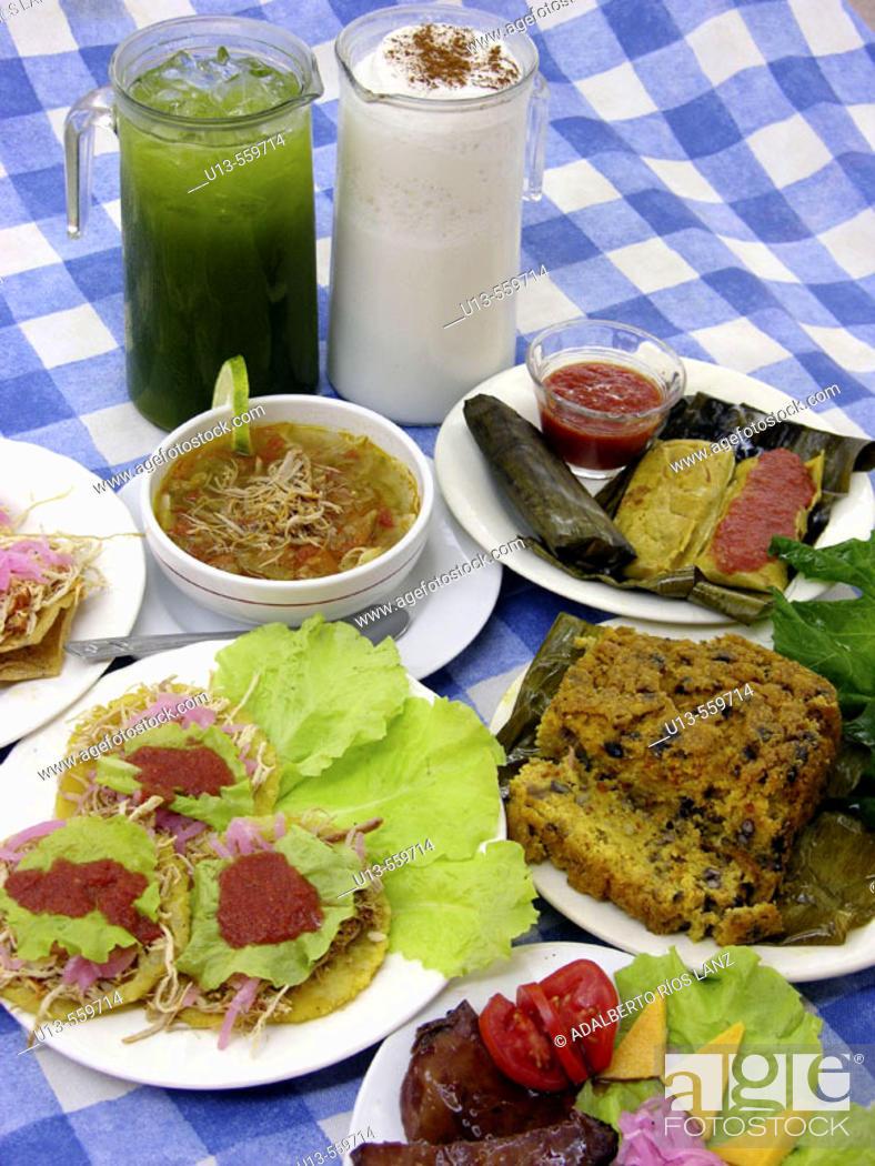 Stock Photo: Antojitos. Mexican cuisine. Campeche. Mexico.