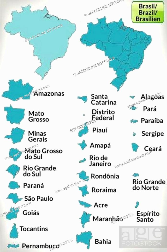 Stock Vector: Grenzkarte von Brasilien mit Grenzen in Blau.