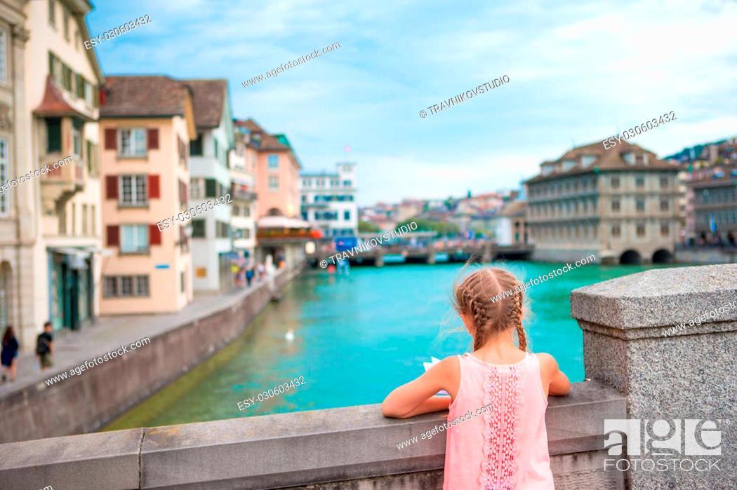Stock Photo: Adorable little girl outdoors in Zurich, Switzerland.