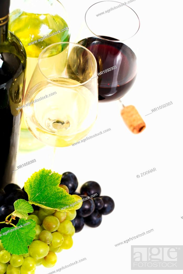 Stock Photo: Glasses of white and rose wine and grapes over white.