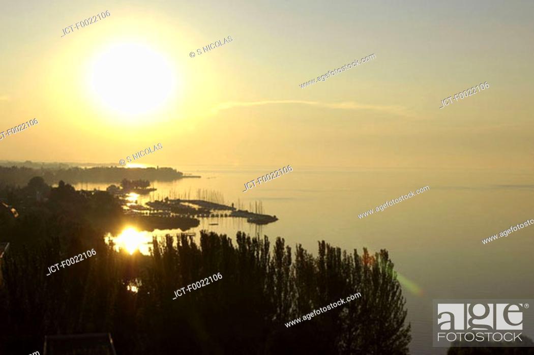 Stock Photo: Hungary, Lake Balaton, sunset.
