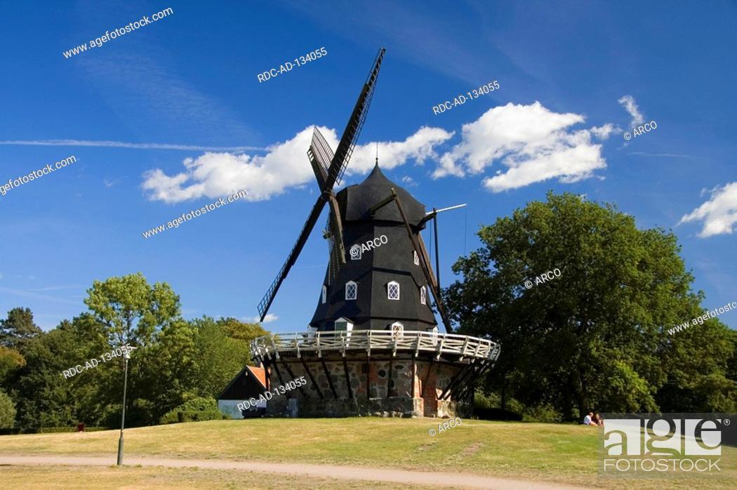 Stock Photo: Windmill build 1851 Malmo Skane Sweden Slottsmollan Slottsmöllan dutch mill Malmö.