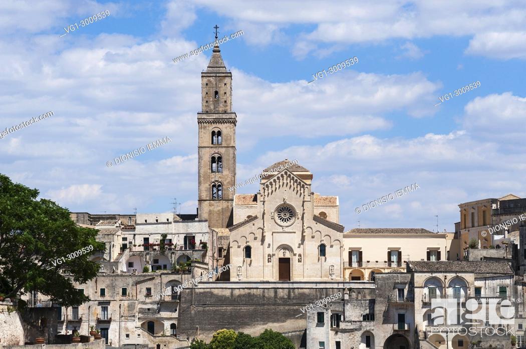 Stock Photo: Matera, district of Matera, Sasso Barisano district with the Duomo, European Capital of Culture 2019, Basilicata, Italy, Europe.