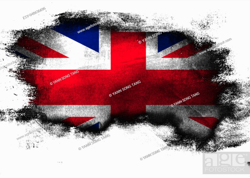 Stock Photo: United Kingdom flag painted with brush on white background, 3D rendering.