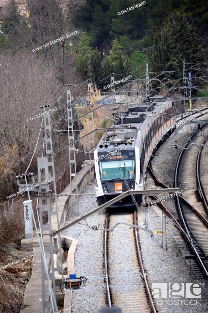 Stock Photo: Train, Sant Cugat del Valles, Barcelona, Catalonia.