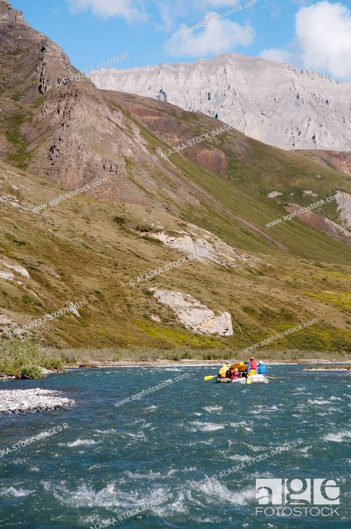 Stock Photo: People rafting on the Marsh Fork of the Canning River in the Brooks Range, Arctic National Wildlife Refuge, Alaska, Summer.