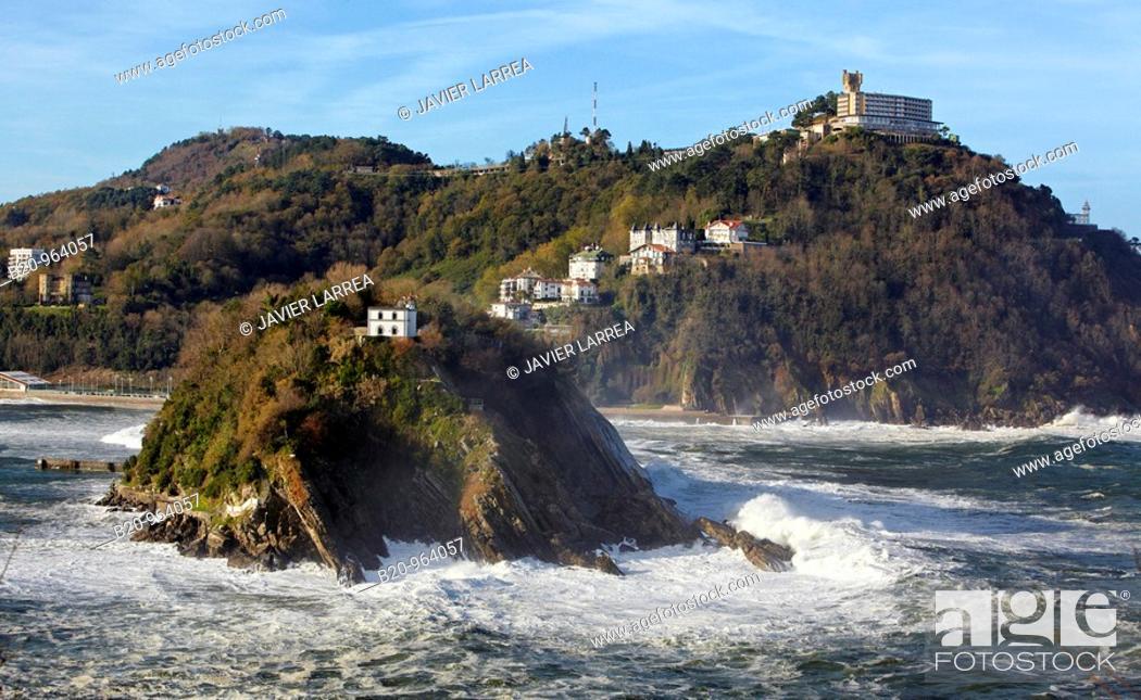 Stock Photo: Santa Clara island and Mount Igeldo, San Sebastian, Guipuzcoa, Basque Country, Spain.