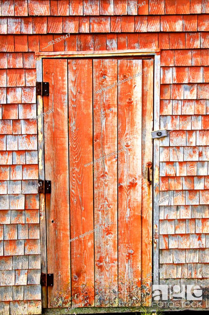 Stock Photo: Wooden door, Peggy's Cove, Nova Scotia, Canada.