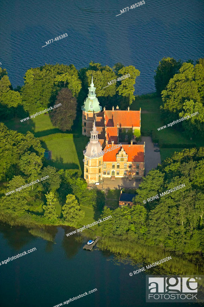 Stock Photo: Old historical castle, lake, aerial view. Karsholm. Skåne. Sweden.