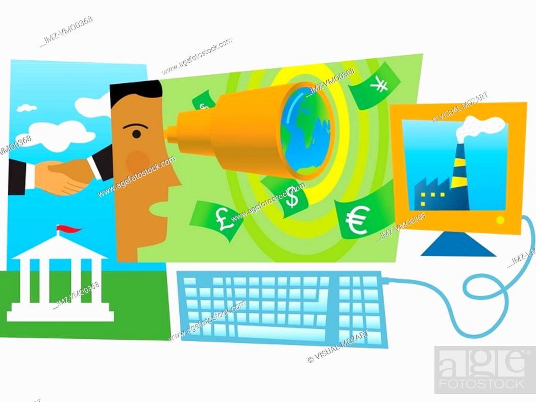 Stock Photo: Company vision and expansion, montage.