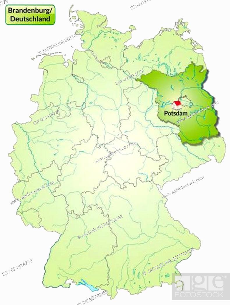 Karte Von Brandenburg Mit Hauptstadten In Grun Stock Photo