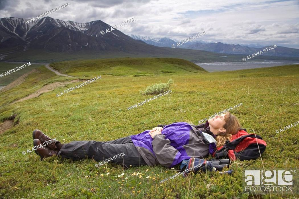 Stock Photo: Woman sleeps on her back on the tundra while taking a break form hiking near Eielson visitor center Denali National Park Alaska.