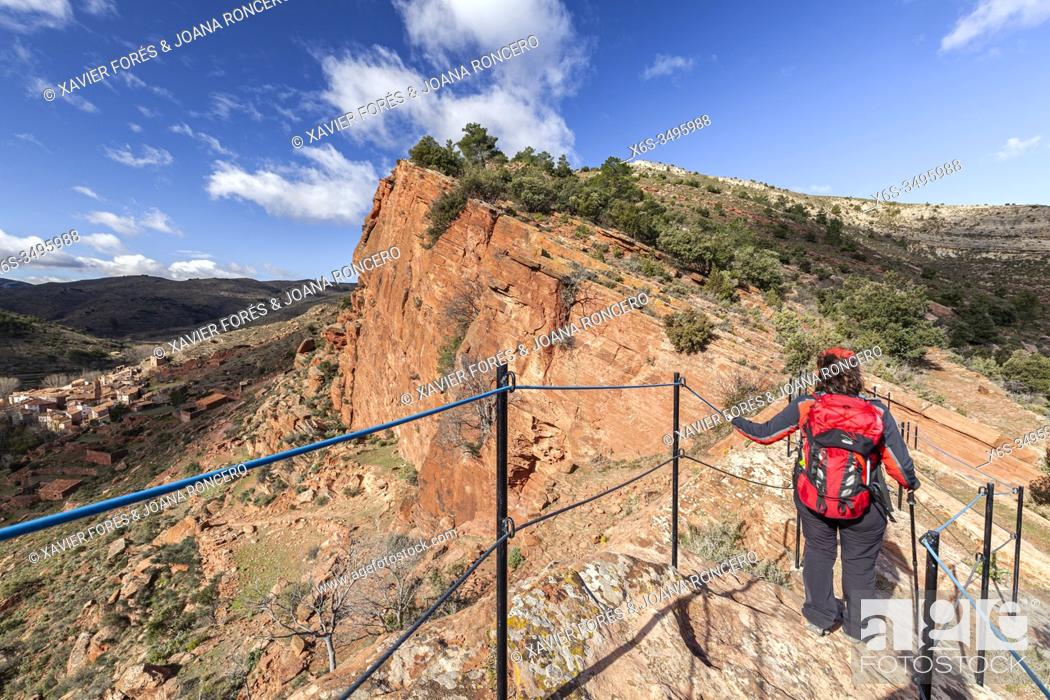 Stock Photo: Viewpoint of Portillo, hike near Peñarroyas, Cultural Park of Rio Martin, Teruel, Spain.
