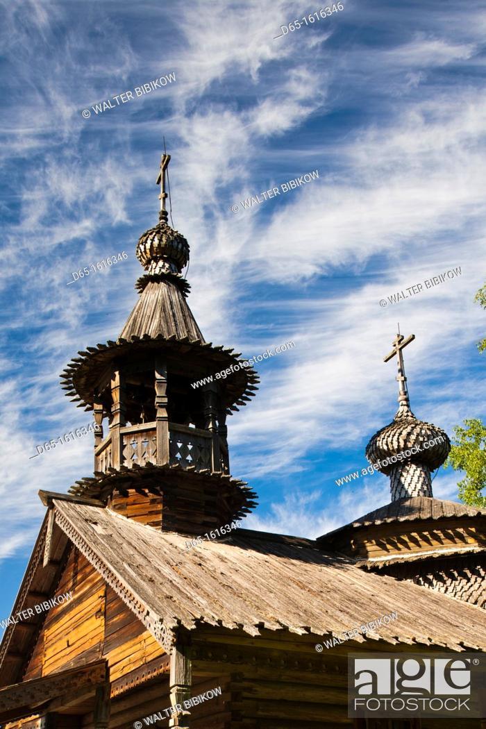 Stock Photo: Russia, Novgorod Oblast, Veliky Novgorod, Vitoslavitsky Museum of Wooden Architecture, traditional wooden Russian Orthodox church.