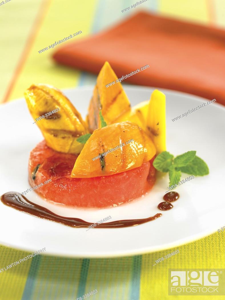 Stock Photo: parrillada de frutas / fruit barbecue.