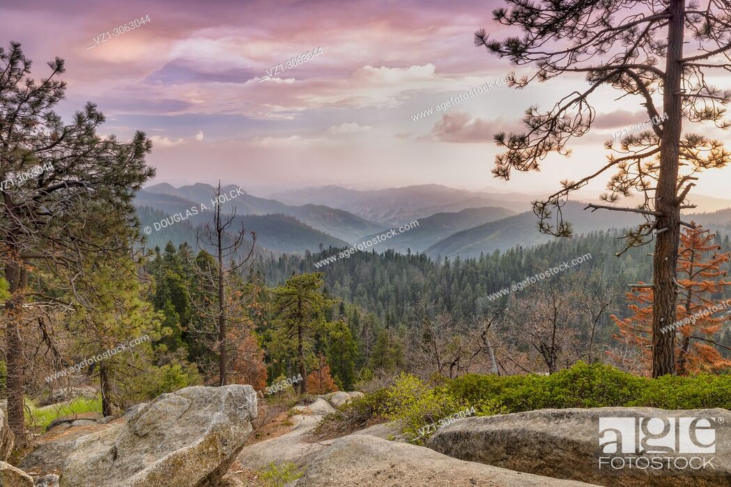 Stock Photo: Storm at Sunset, Sequoia NP, USA.