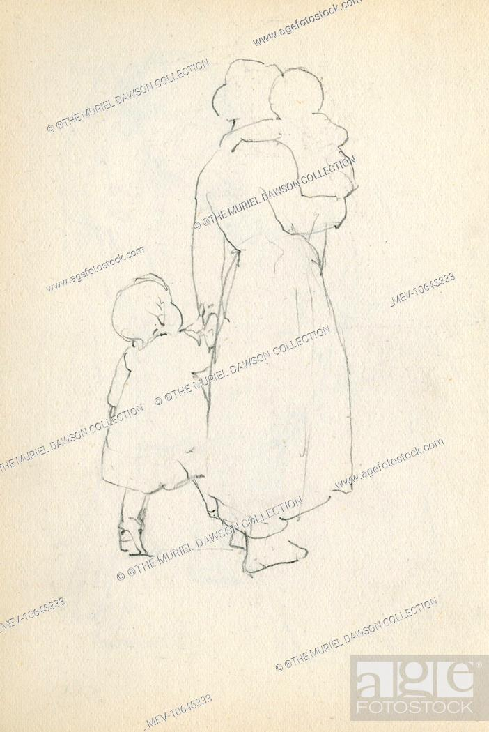 Pencil Sketch Of A Mother With Two Children Stock Photo Picture And Rights Managed Image Pic Mev 10645333 Agefotostock