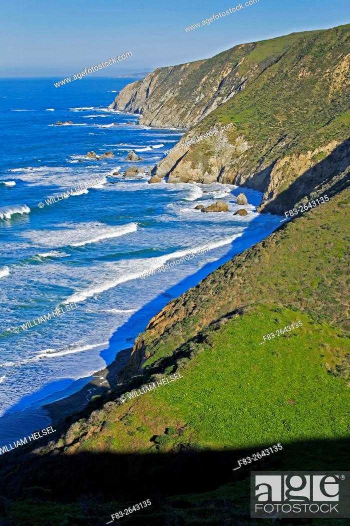 Stock Photo: Point Reyes National Seashore, Marin County, California, USA, rugged coastline on west side of Tomales Point, surf and rocks, early morning, January.