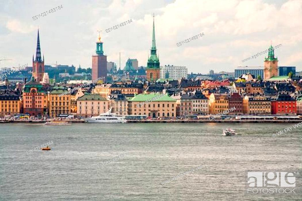Stock Photo: panorama of Stockholm city in autumn day, Sweden.