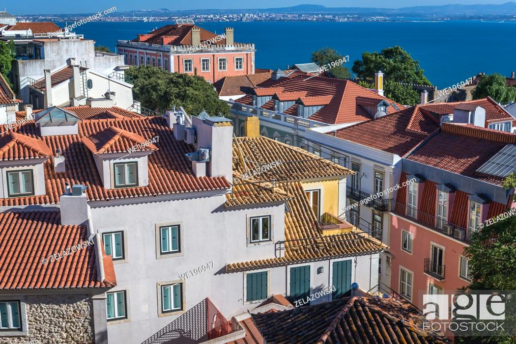 Stock Photo: Aerial view from Castelo de Sao Jorge viewing point in Lisbon city, Portugal.