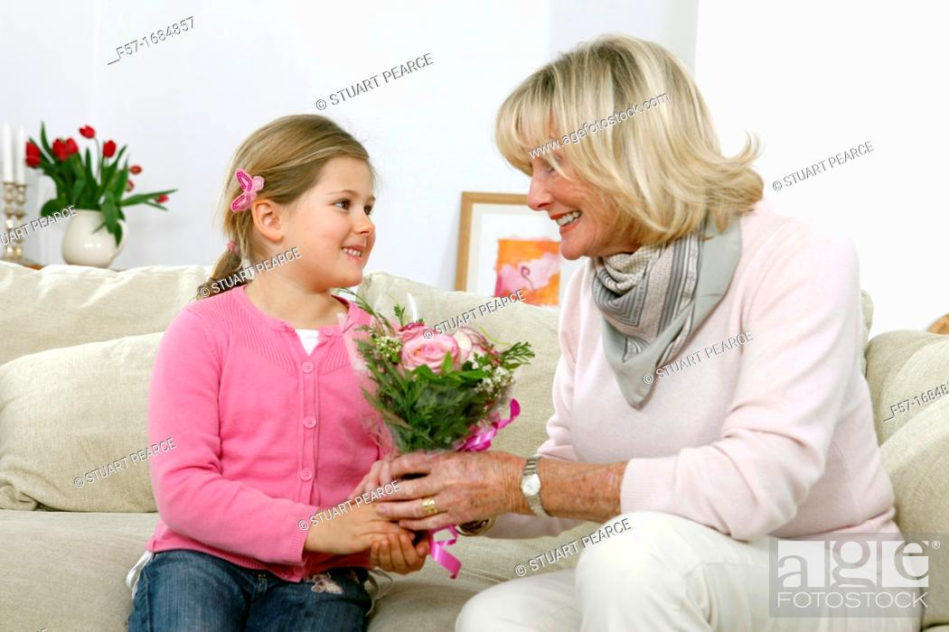 Stock Photo: Girl with grandmother.