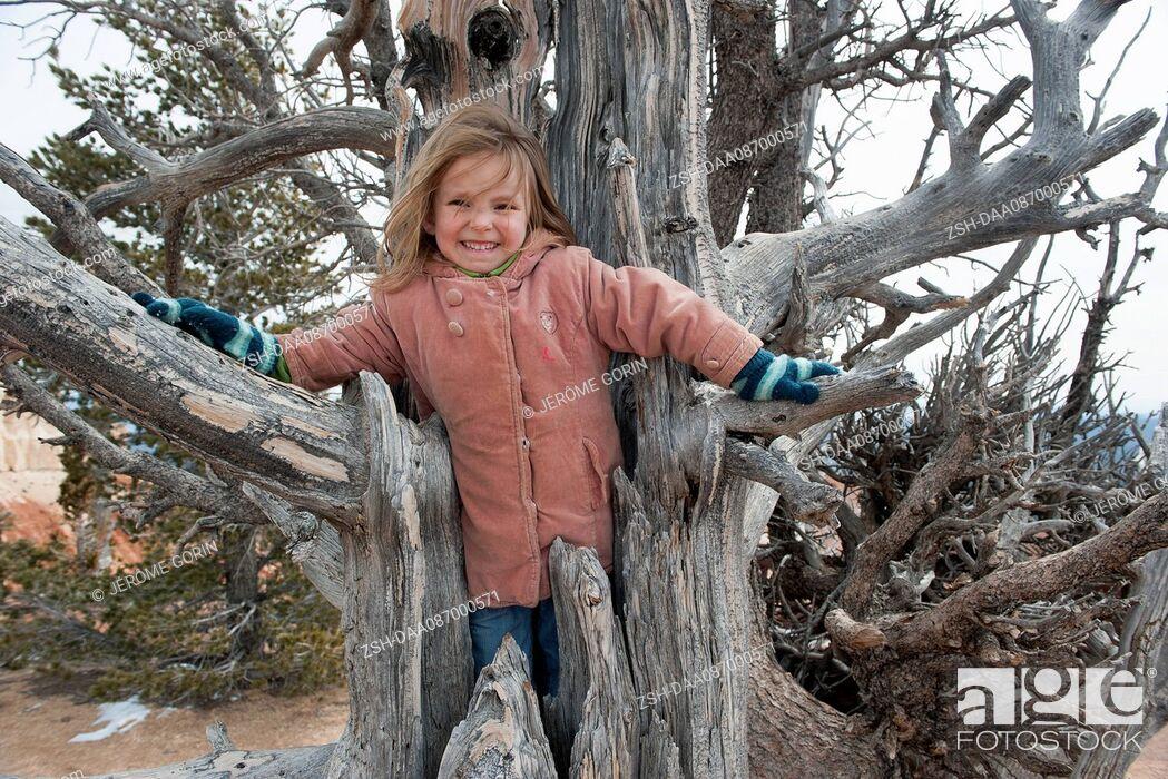 Stock Photo: Girl climbing inside dead tree trunk, portrait.