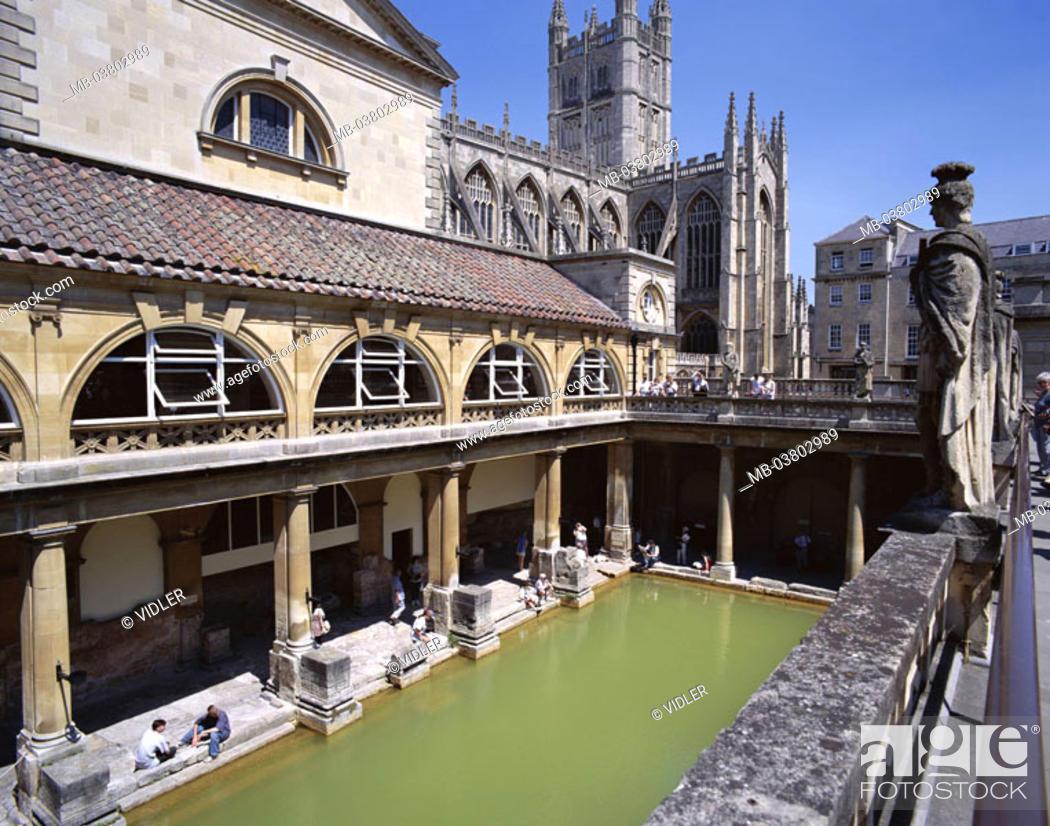 Great Britain, England, Somerset, Bath, Roman bath, Europe, island ...