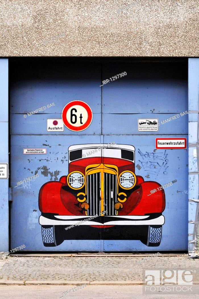 Stock Photo: Garage exit with graffiti, Munich, Bavaria, Germany, Europe.