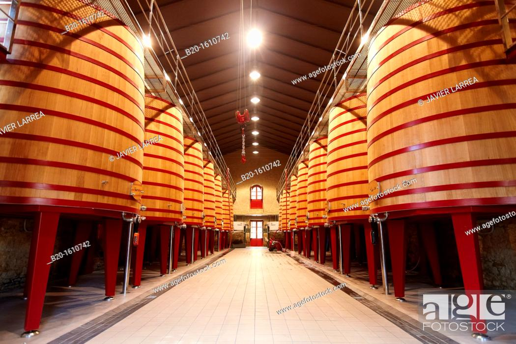 Stock Photo: Barrels of wine making, Marques de Riscal winery, Elciego, Rioja Alavesa, Alava, Basque Country, Spain.