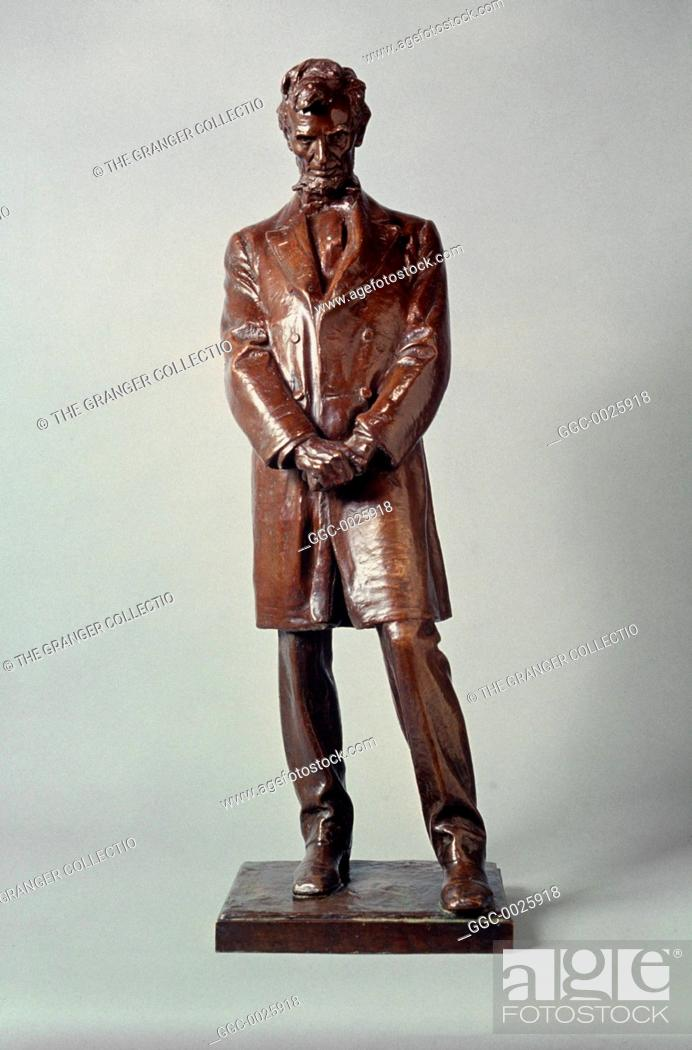 Stock Photo: ABRAHAM LINCOLN STATUE.Bronze working model by Daniel Chester French, 1910-11.